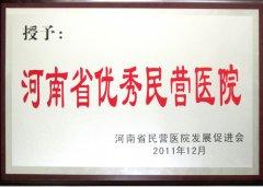 """2011年度被授予""""河南省优秀民营医院"""""""
