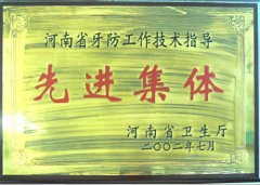 """2002年度荣获""""河南省牙防工作技术指导先进集体""""称号"""